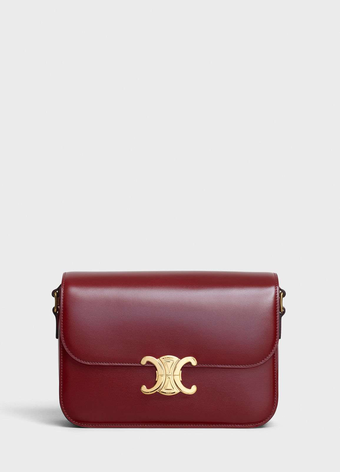 CELINE MEDIUM TRIOMPHE BAG IN SHINY CALFSKIN CL87363 LIGHT BURGUNDY