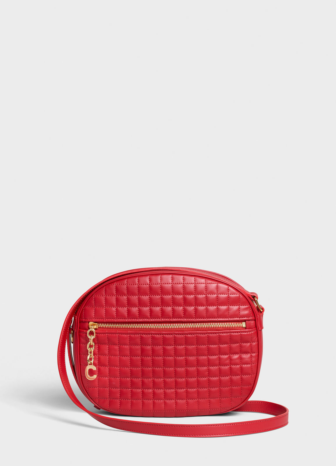 CELINE CROSS BODY MEDIUM C CHARM BAG IN QUILTED CALFSKIN 188353 red