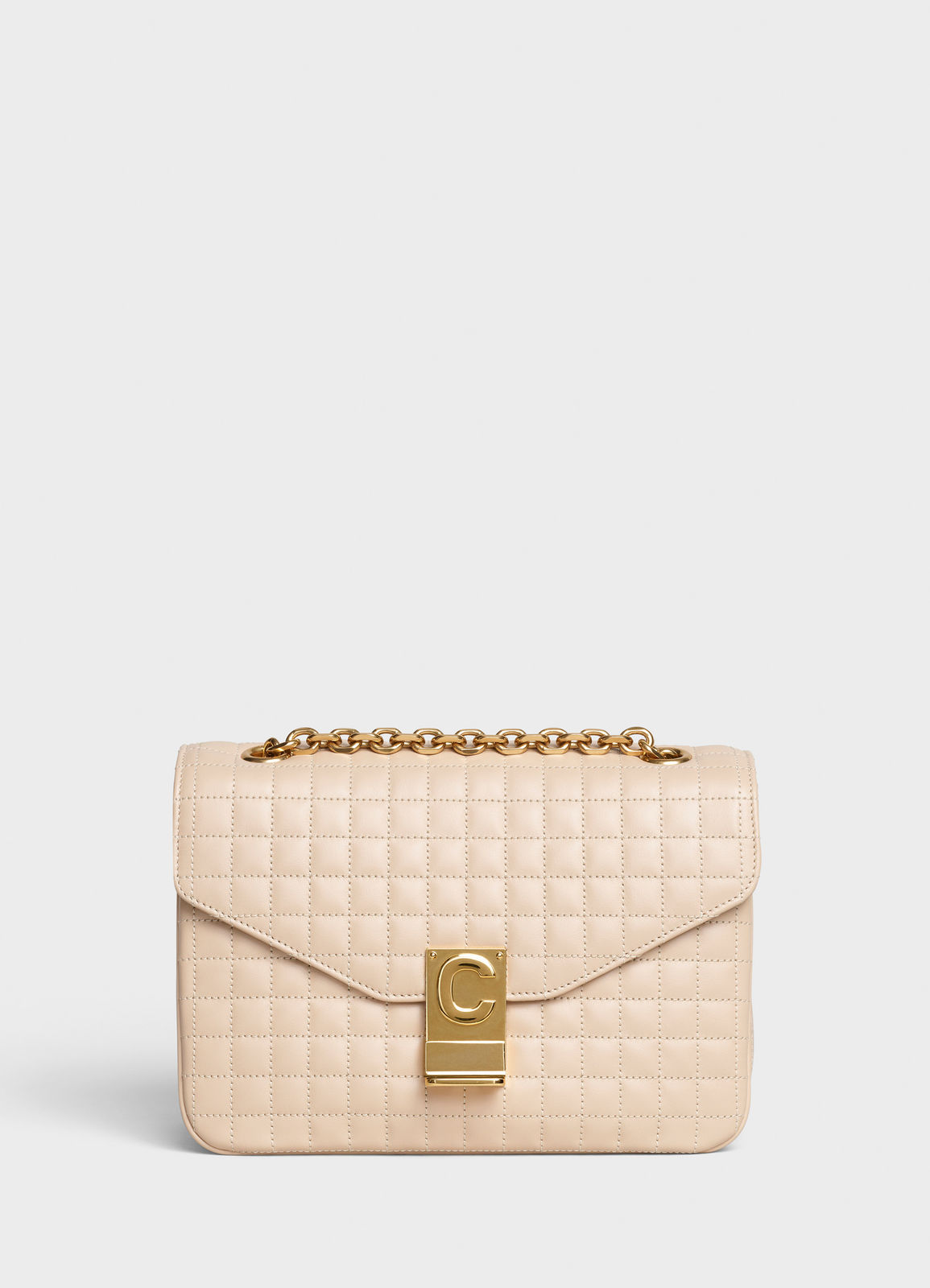 CELINE MEDIUM C BAG IN BICOLOUR QUILTED CALFSKIN CL87253 cream