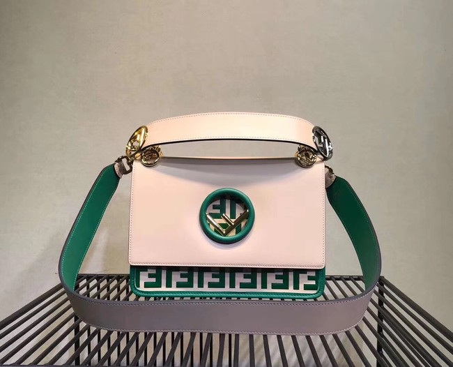 FENDI Kan I Leather Shoulder Bag 8BT284 white&green