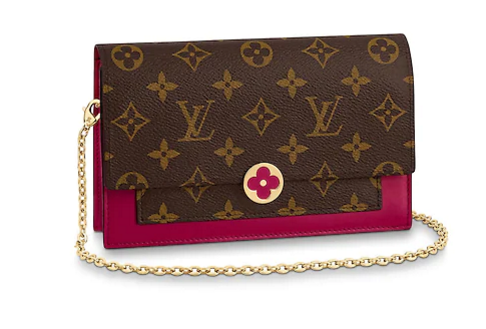 Louis Vuitton Monogram Canvas FLORE Chain Wallet M67404 Lie De Vin