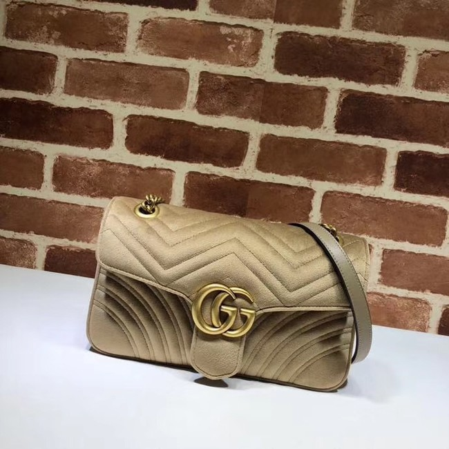 Gucci GG Marmont velvet medium shoulder bag 443497 Khaki