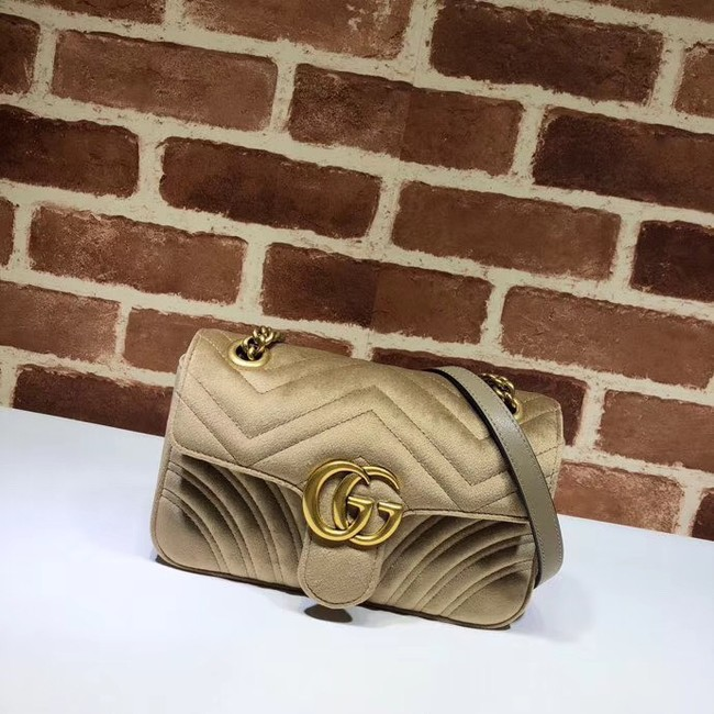 Gucci Velvet GG Shoulder Bag 446744 Khaki