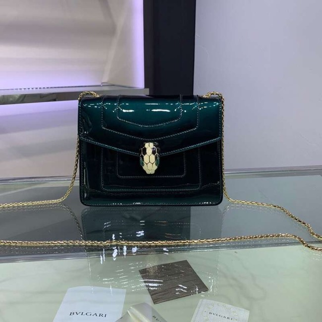 BVLGARI Serpenti Forever metallic-leather shoulder bag 34559 dark green