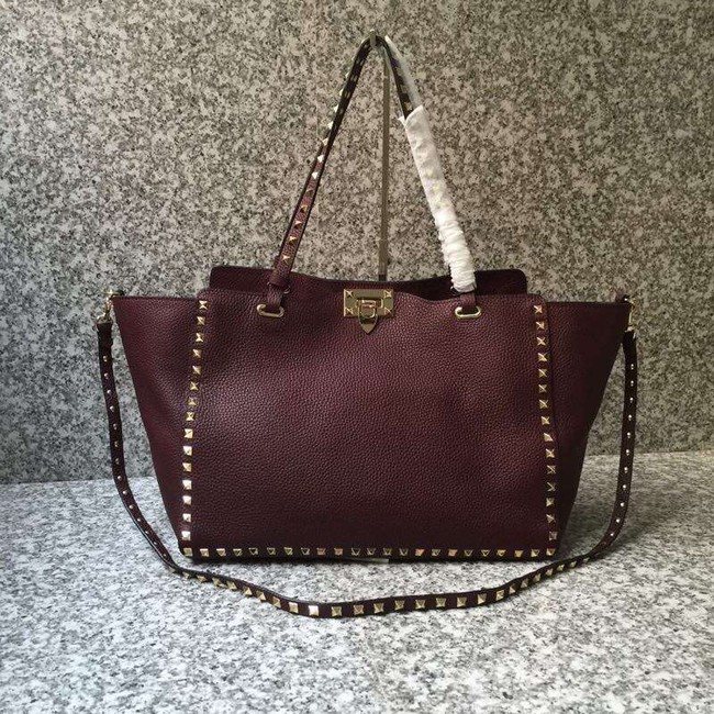 VALENTINO Rockstud large tote 0973 dark red