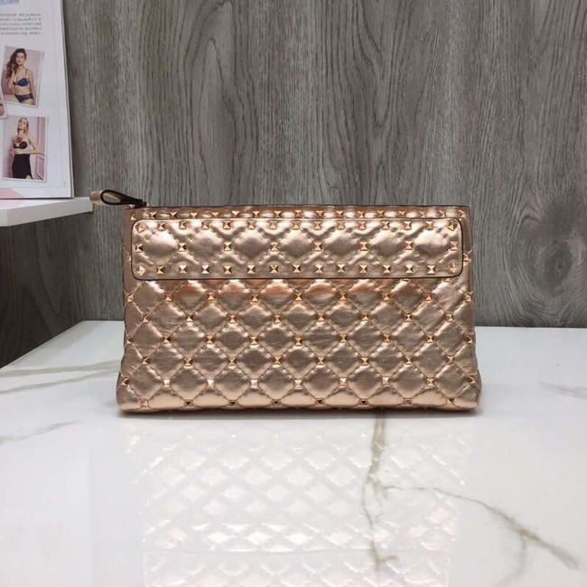 VALENTINO leather clutch 0125 Rose Gold