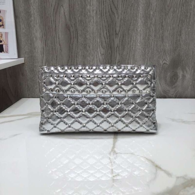 VALENTINO leather clutch 0125 silver