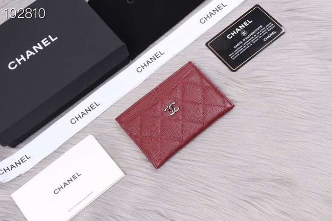 Chanel classic card holder Grained Calfskin & Gold-Tone Metal A31510 Burgundy