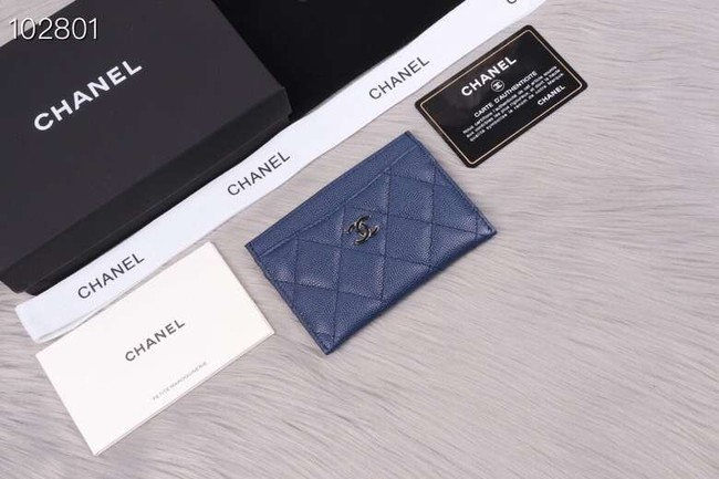 Chanel classic card holder Grained Calfskin & Gold-Tone Metal A31510 blue