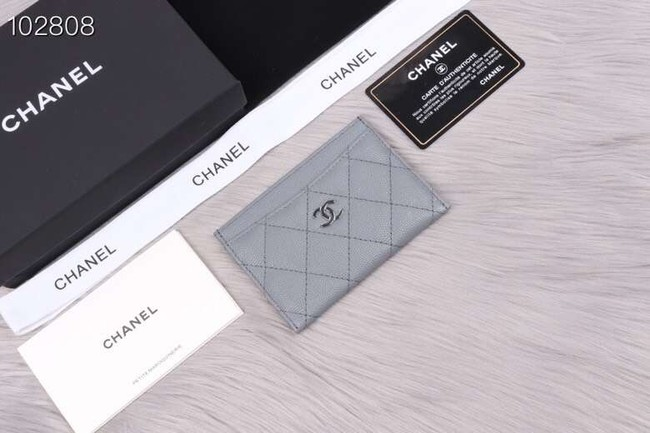 Chanel classic card holder Grained Calfskin & Gold-Tone Metal A31510 grey