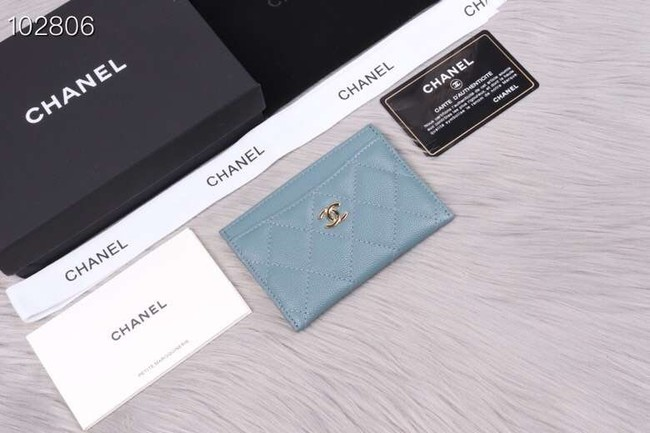 Chanel classic card holder Grained Calfskin & Gold-Tone Metal A31510 light blue