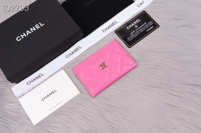 Chanel classic card holder Grained Calfskin & Gold-Tone Metal A31510 rose