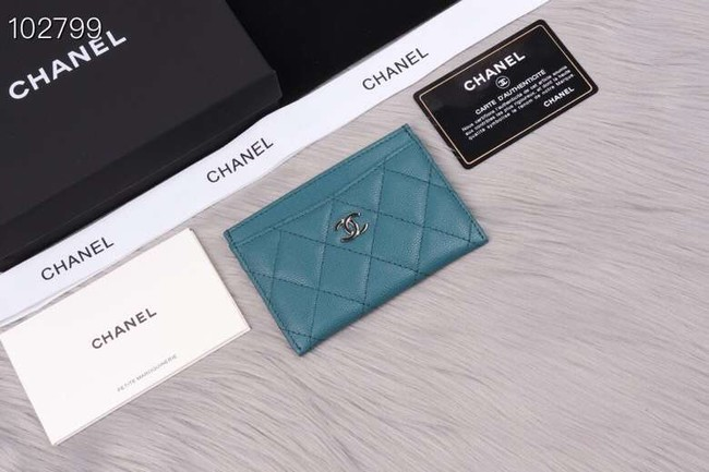 Chanel classic card holder Grained Calfskin & Gold-Tone Metal A31510 sky blue