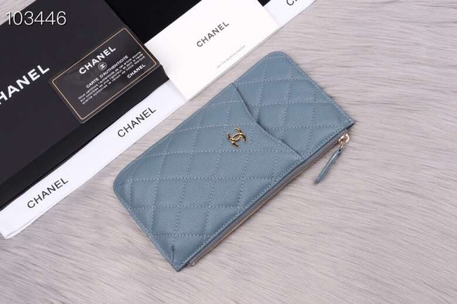 Chanel classic pouch Grained Calfskin& Gold-Tone Metal A84402 light blue