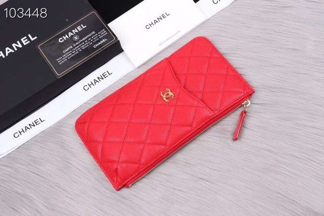Chanel classic pouch Grained Calfskin& Gold-Tone Metal A84402 red