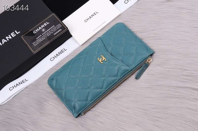 Chanel classic pouch Grained Calfskin& Gold-Tone Metal A84402 sky blue