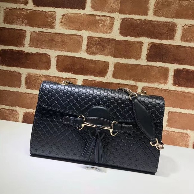 Gucci GG Leather Shoulder Bag 449635 black