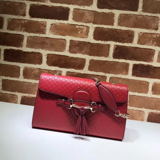 Gucci GG Leather Shoulder Bag 449635 red