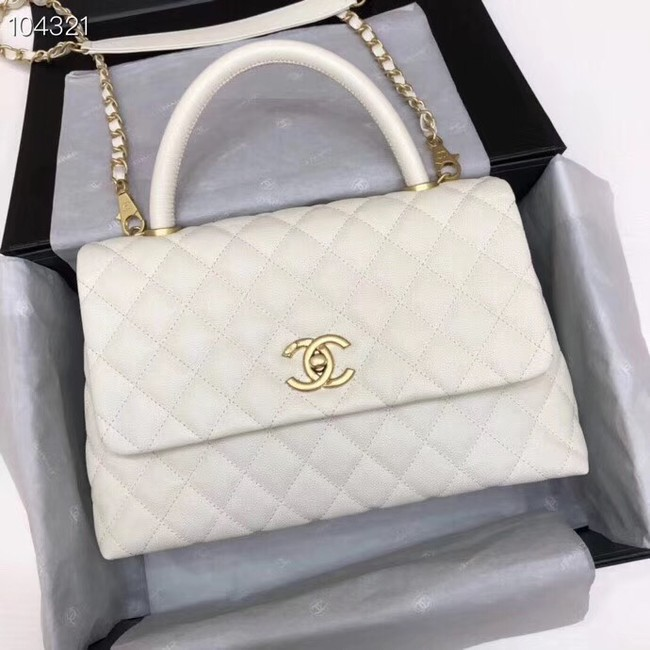 Chanel original Caviar leather flap bag top handle A92292 white&Gold-Tone Metal