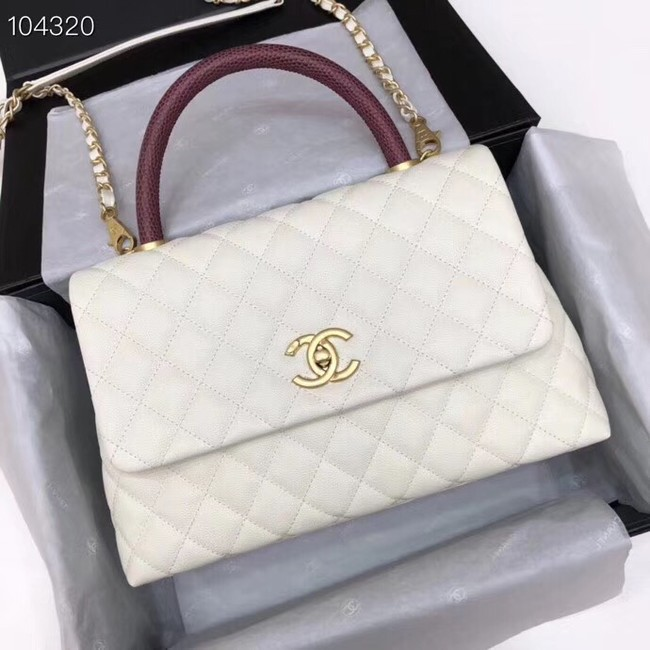Chanel original Caviar leather flap bag top handle B92292 white&Gold-Tone Metal