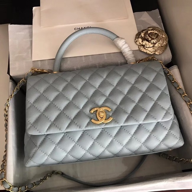 Chanel original Caviar leather flap bag top handle A92292 light blue&Gold-Tone Metal