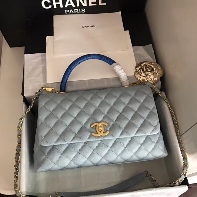 Chanel original Caviar leather flap bag top handle B92292 light blue&Gold-Tone Metal