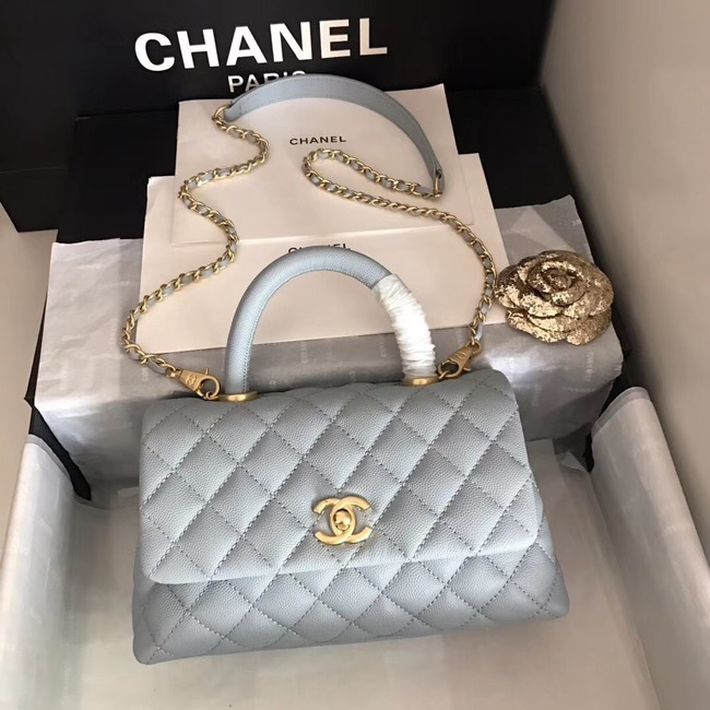 Chanel original Caviar leather flap bag top handle A92290 light blue&Gold-Tone Metal