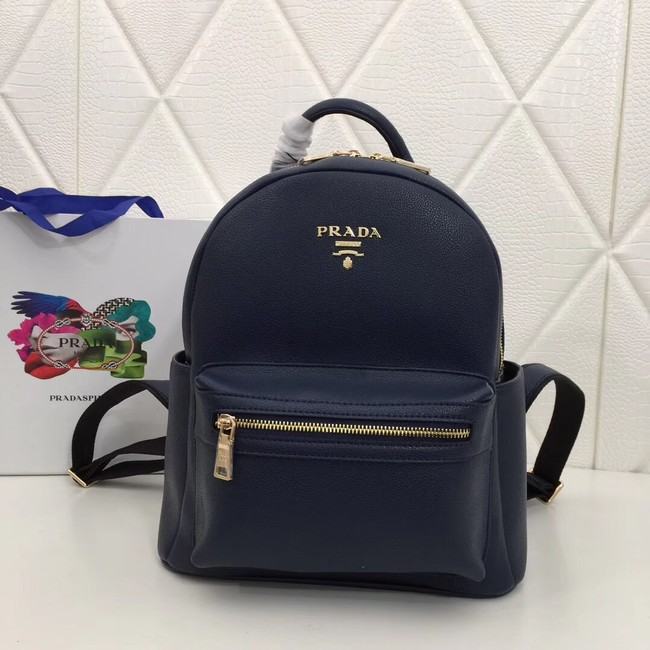 Prada Calf leather backpack 2819 dark blue