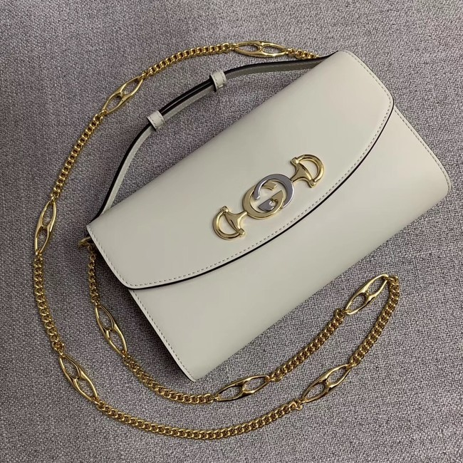 GUCCI Zumi small leather shoulder bag 572375 white