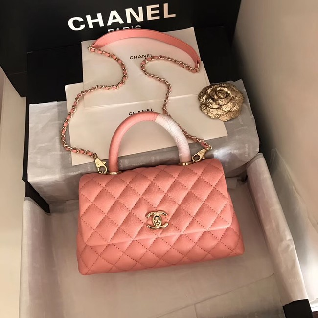 Chanel original Caviar leather flap bag top handle A92290 pink&Gold-Tone Metal