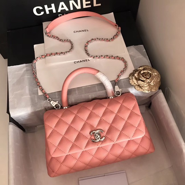 Chanel original Caviar leather flap bag top handle A92290 pink&silver-Tone Metal
