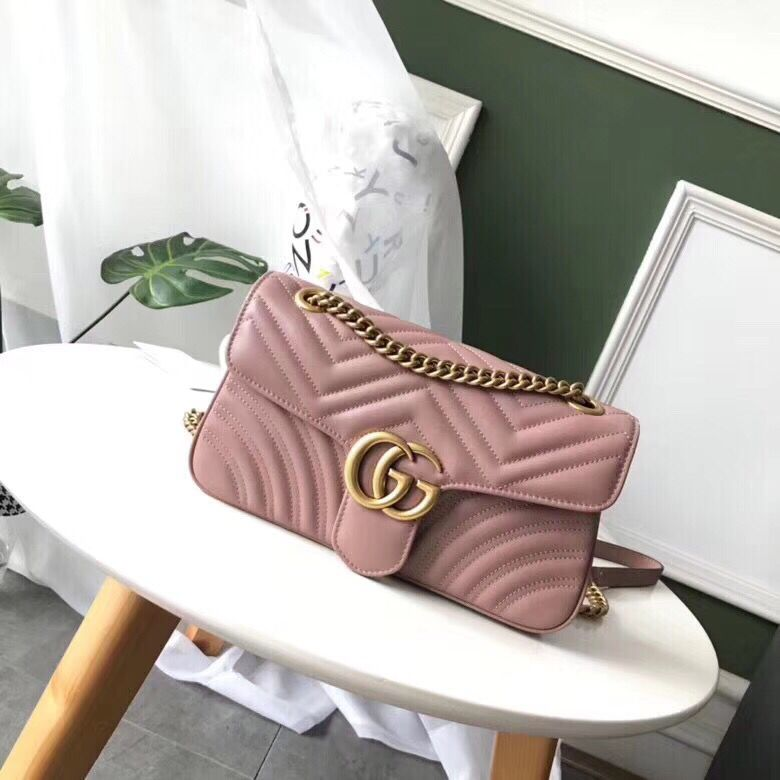 Gucci GG Marmont Original Leather small matelasse shoulder bag 443497 pink