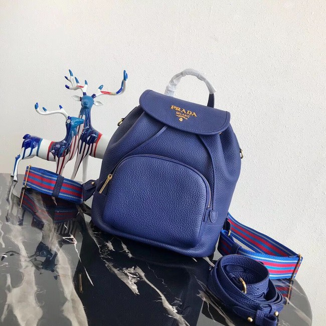 Prada original Leather backpack 1BZ035 blue