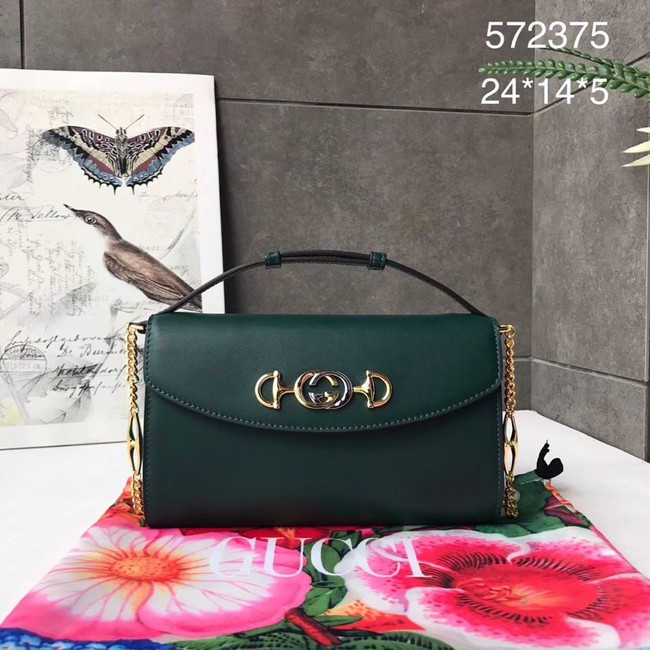 GUCCI Zumi small leather shoulder bag 572375 Dark green
