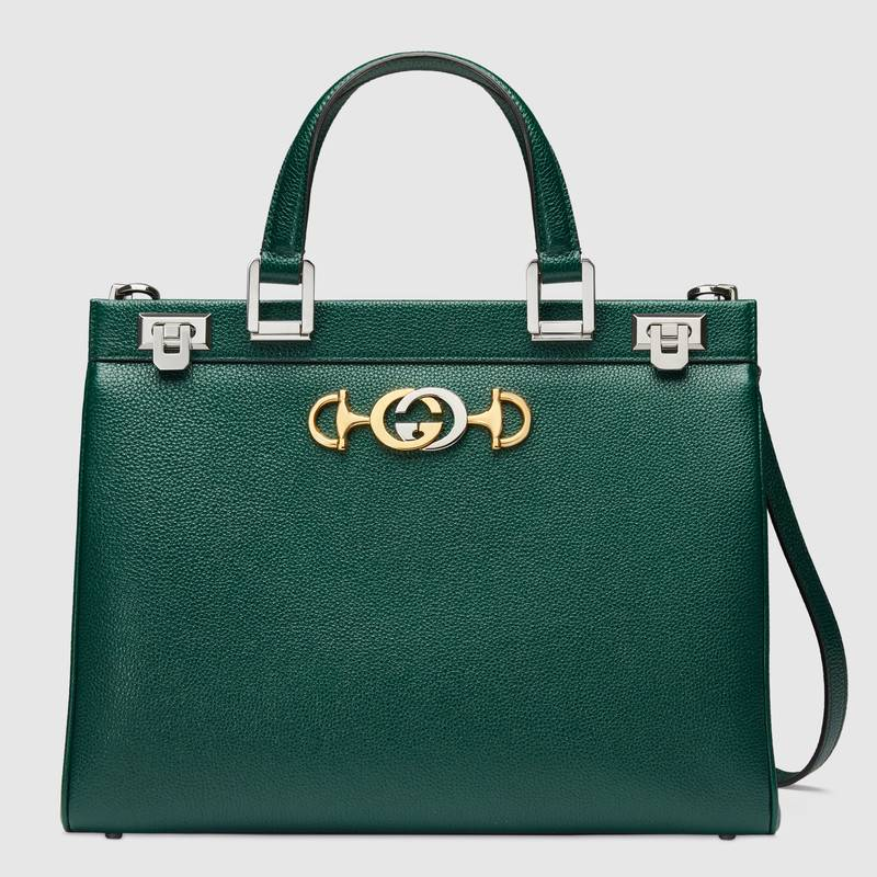 Gucci Zumi grainy leather medium top handle bag 564714 Dark green