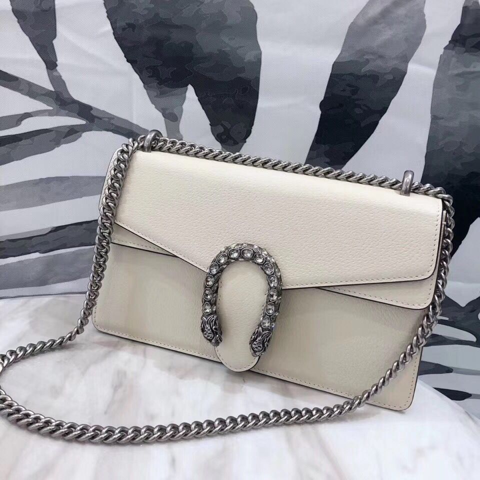 Gucci Dionysus Blooms Leather Shoulder Bag 400249 White