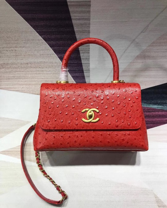 Chanel flap bag with top handle B93737 red