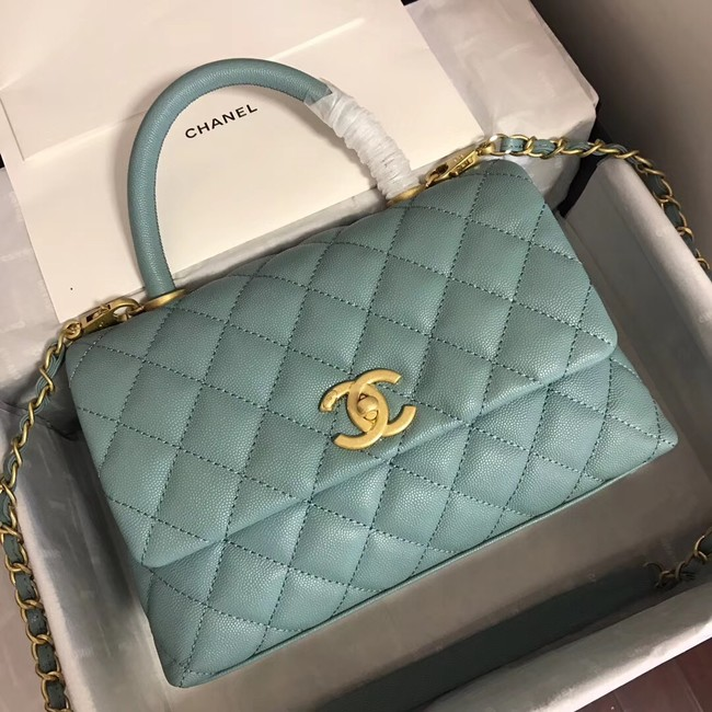 Chanel original Caviar leather flap bag top handle A92290 green &gold-Tone Metal
