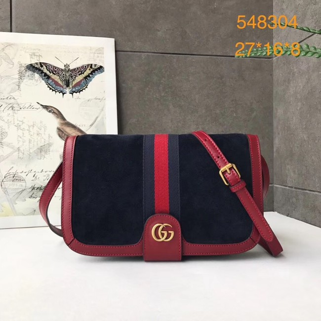 Gucci Ophidia GG Supreme small suede shoulder bag 548304 Dark blue