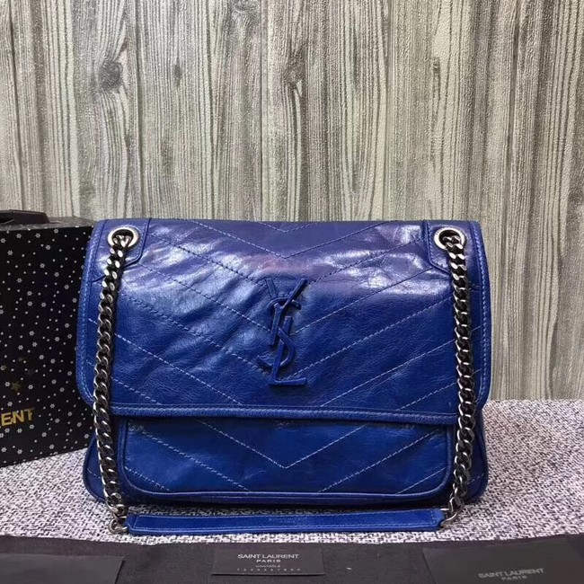SAINT LAURENT Medium Niki leather shoulder bag 61060 blue
