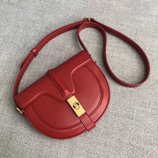 CELINE SMALL BESACE 16 BAG IN SATINATED CALFSKIN CROSS BODY 188013 RED