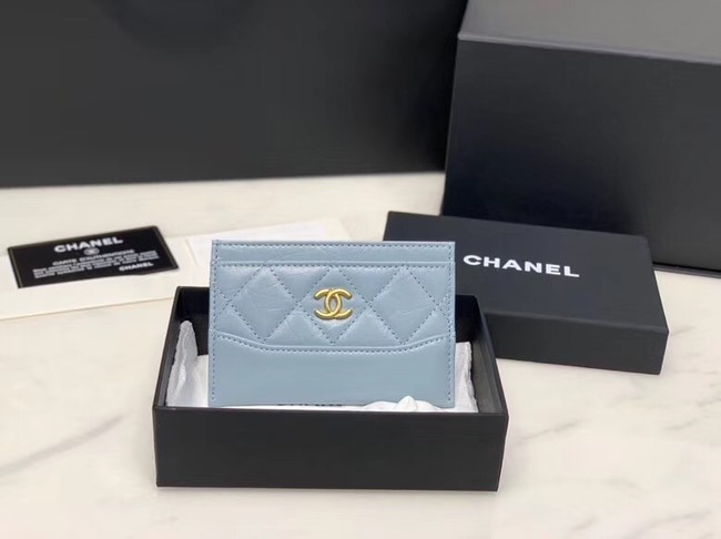 Chanel classic card holder Calfskin & Gold-Tone Metal A31510 light blue