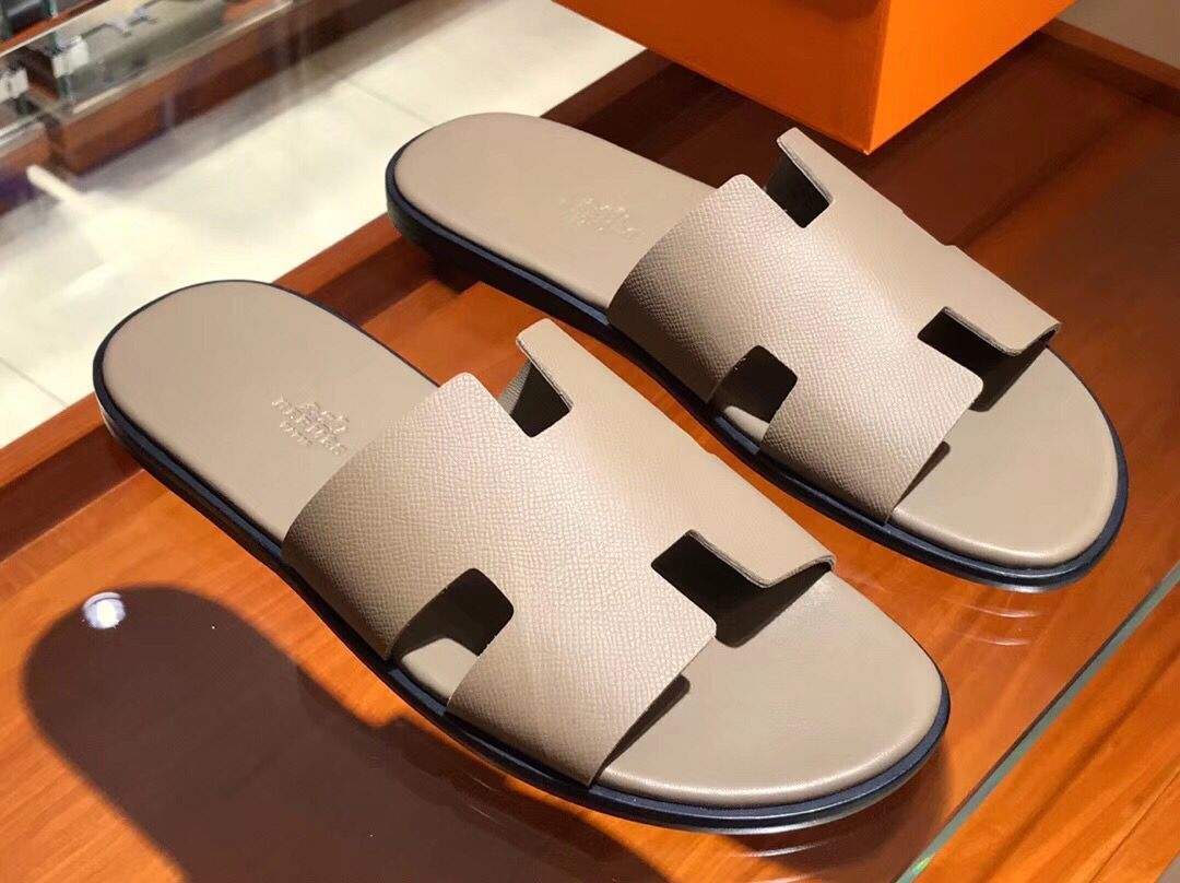 Hermes man leather fashion Slipper HO810HMJ