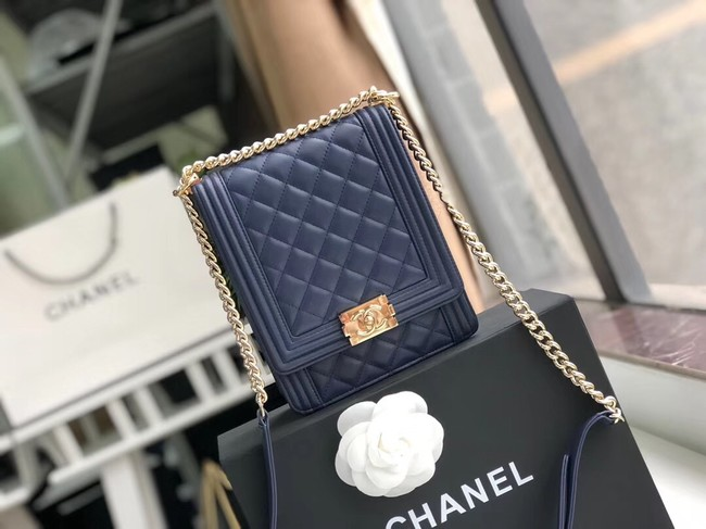 Boy chanel handbag Sheepskin & Gold-Tone Metal AS0130 dark blue