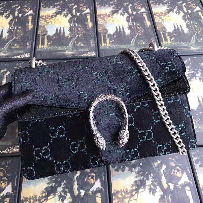 Gucci Dionysus GG velvet small shoulder bag 400249 black