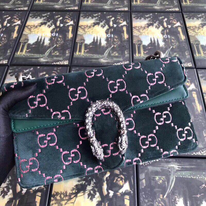 Gucci Dionysus GG velvet small shoulder bag 499623 green