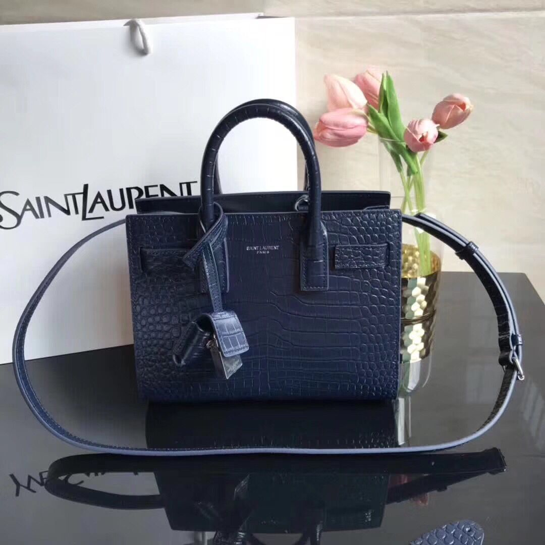 SAINT LAURENT Crocodile-Embossed Leather Organ Bag 392035 Dark Blue