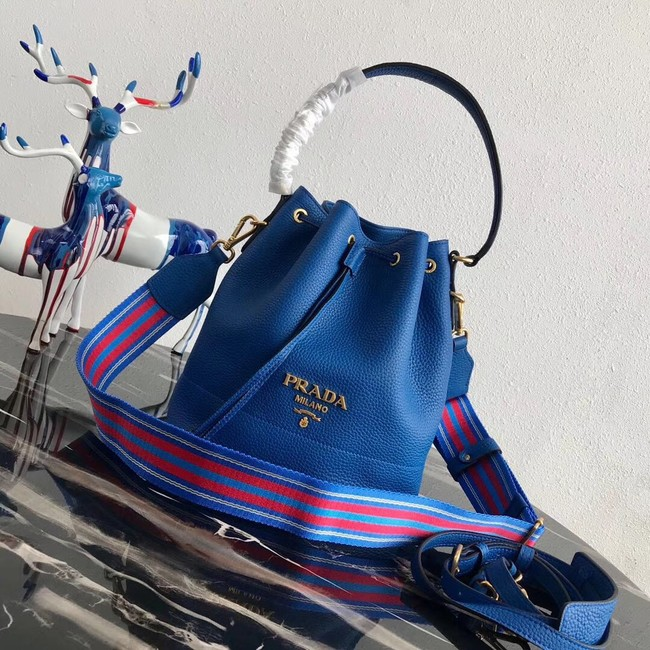 Prada Leather bucket bag 1BE018 blue