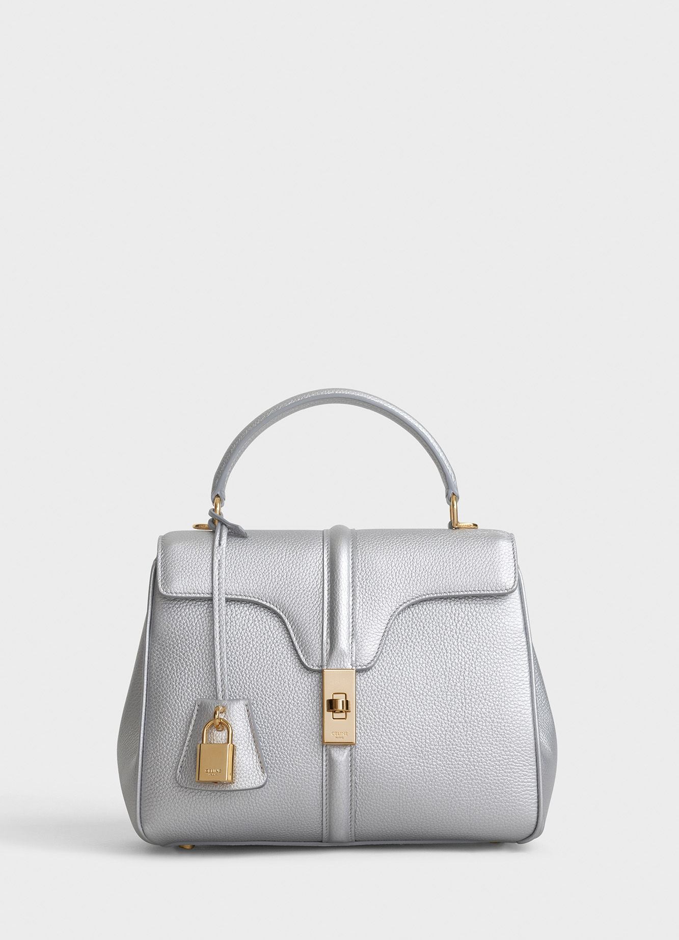 CELINE SMALL 16 BAG IN LAMINATED GRAINED CALFSKIN 188003 SILVER