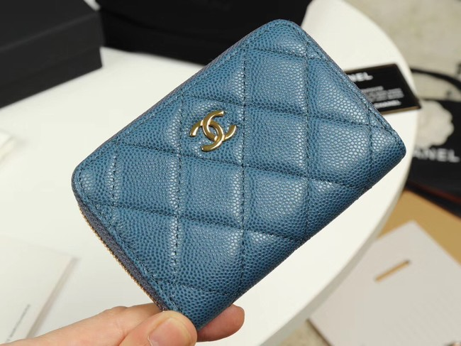 Chanel classic card holder Grained Calfskin & Gold-Tone Metal A69271 Blue